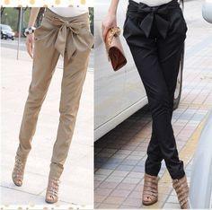 AS-015 2014 cintura alta das mulheres Magras Calças Compridas OL harem pants Bow ocasional plus size Preto, cáqui Frete grátis