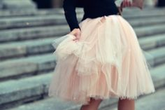 Image Via: A Feminine Tomboy. Want to find a tulle skirt so I can try this look.