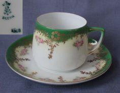 OHME, Coffee Can Saucer, hand painted, Niedersalzbrunn,Szczawienko // Mokka/Mocca TASSE m. UT, HANDMALEREI SILESIA