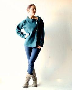 giacca in lana verde petrolio di larimeloom su Etsy