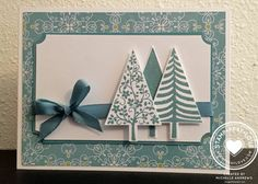 Stampin' Up! ... handmade Christmase card ... Festival of Trees #2 by Michelle Andrews ... trio of stamped and die cut trees ... teals ... lovely!
