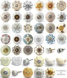 White cream ceramic knobs drawer pulls cupboard door knobs porcelain china goldresin fancy flower per 1 Cupboard Door Knobs, Door Knobs And Knockers, Knobs And Handles, Knobs And Pulls, Door Handles, Cabinet Knobs, Coat Cupboard, Kitchen Door Knobs, Porcelain Door Knobs