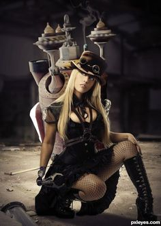 Steampunk Girl with serious commitment, or good photoshop technique.