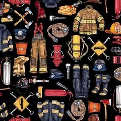 5 Alarm Everything Firefighter Patches Brick 24x44 Cotton Fabric Panel