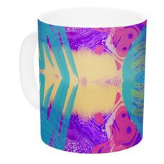 East Urban Home Glitch Kaleidoscope by Vasare Nar 11 oz. Ceramic Coffee Mug