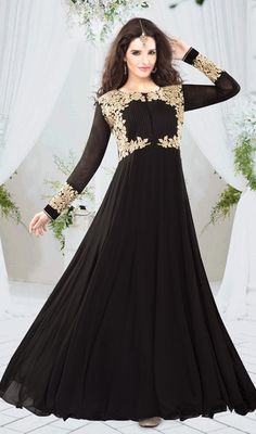 Appear as pretty as pretty can be in this black embroidered georgette gown. This desirable attire is displaying some superb embroidery done with butta, resham and stones work. #PreetyDesignerWear