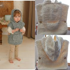 Had fun knitting and giving these wee hoodie vests! Baby Poncho, Hooded Poncho, Crochet Tunic, Knitted Poncho, Crochet Waffle Stitch, Simply Knitting, Poncho Knitting Patterns, Sweater Hat, Knitting Supplies