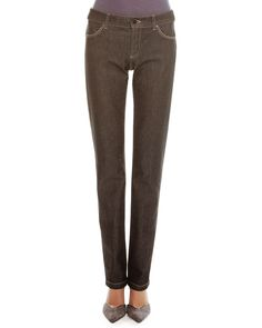 Melange Denim Straight-Leg Jeans, Women's, Size: 31, Black Melange - Giorgio Armani