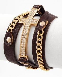 I checked out Gold tone Leatherette Cross Bracelet on Lish, $15.99 USD