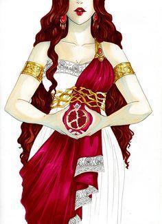 Persephone illustration, step by step Artwork @ Neith Persephone Costume, Hades And Persephone, Goddess Costume, Greek Goddess Art, Greek Mythology Art, Greek Gods And Goddesses, Mythology Costumes, Percy Jackson, Tenten Y Neji