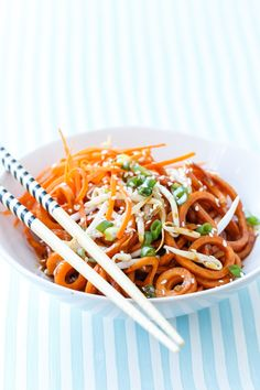For a healthy twist on a traditional noodle dish, use your KitchenAid® Spiralizer Attachment for Soy Sauce Sweet Potato Noodles from @loveandoliveoil