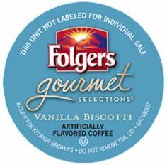 Folgers Vanilla Biscotti Coffee K-Cups For Sale at CapeJava.com