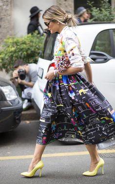Dolce & Gabbana skirt + yellow heels