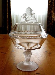 """My 1870s Gillinder & Sons, """"Lion"""" EAPG glass compote."""
