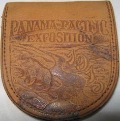 LEATHER COIN PURSE PANAMA-PACIFIC EXPOSITION 1915 PPIE OFFICIAL SOUVENIR