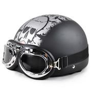 Open Face Half Motorcycle Helmet & Goggles – TShirtsRUS.co