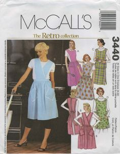 Retro Vintage Apron Sewing Pattern | McCall's 3440 | Year 2001 | All Sizes Bust 31½-44 | Waist 24-37 | Hip 33½-46 vintag apron, aprons, apron sew, sew pattern, retro vintage, sewing patterns