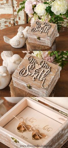 Mr & Mrs Rustic Woode Ring Bearer Box  ||  @4LOVEPolkaDots olkadots