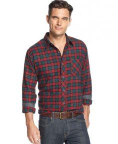 Weatherproof Vintage Shirt, Long-Sleeve Tartan Plaid Flannel Shirt