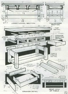 Woodworking plan for functional table. Complete woodworking plans with detail descriptions can be found on my website: www.tedswoodworkplans.com
