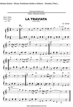 La Traviata Free Flute Sheet Music, Violin Sheet Music, Piano Music, Piano Lessons, Music Lessons, Music Hacks, Music Manuscript, Piano Score, Song Notes