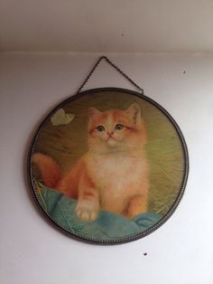 Antique Large Chimney Flue Cover Picture With Kitten RARE!