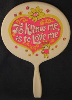 Retro Flower Power Love Hand Mirror 60s. I am sure I had this mirror!
