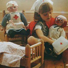 vintage KNITTED DOCTOR & NURSE toy knitting pattern by bekabeka75, $7.00