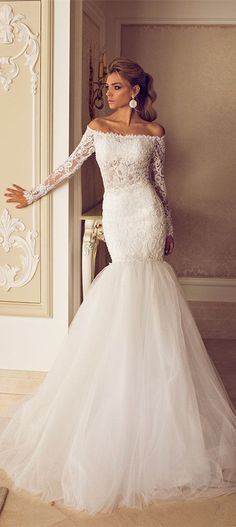 2015 Elegant Wedding Gowns Bateau Lace Appliques Ruffle Draped Long Sleeve Memrmaid Tulle Bridal Dresses