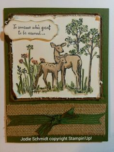 In the meadow Stampin' Up!  So nervous, this is my very first card to upload to pinterest.  SU colors, mossy meadow,softseude and very vanilla