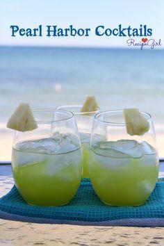 Pearl Harbor Cocktails...vodka, melon liqueur, pineapple juice...