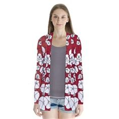 Red White Black Flowers Drape Collar Cardigan from CircusValley Mall Black Flowers, Mall, Red And White, Kimono Top, Floral, Sweaters, Gifts, Shopping, Clothes