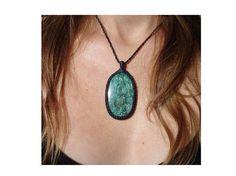 Fuchsite Necklace/Blue Green Stone/Fuchsite Pendant/Russian