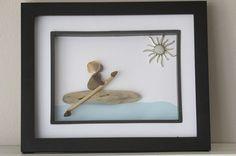 Kayak Artwork - Beach Glass Driftwood - Nautical Themed Artwork - Pebble Art - Kayak Stone Art - Ocean Themed Art  This unique sea glass