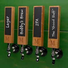 Home Wet Bar Whats on Tap Custom Chalkboard Tap Handle Monogram: T