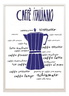 Kitchen art illustration different types Italian coffee. $12.50, via Etsy.
