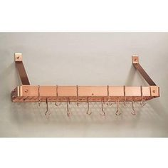 "$154 Copper Wall Mounted Pot Rack Old Dutch International Wall Mounted Pot Racks Pot Racks Kitc 36"" 12""H 9""D"