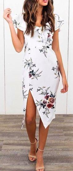 #summer #outfits / slit pattern print dress