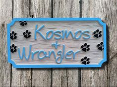 The Carving Company   Full Service Custom Carved Sign Shop   Personalized Pet Name Sign - 2 names - Carved Wood Sign (P2)
