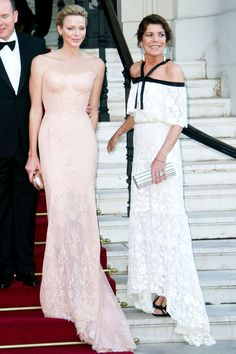 Princess Charlene of Monaco in Atelier Versace gown and Princess Caroline of Hanover in Chanel Couture