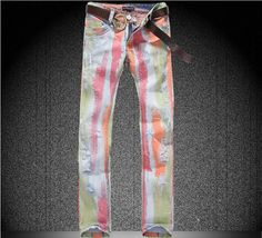 Willstyle Unique Mens Colored Striped Styled Printed Jeans.
