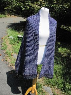 Blue / PurpleHomespun Knit Shawl with Pocket - or not