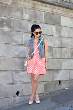 Girly summer layers with polka dots and denim vest