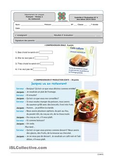 Risultati immagini per restaurant FLE Food In French, French Cafe, French Phrases, French Words, French Teacher, Teaching French, Sandwich Croque Monsieur, High School French, Reading Comprehension