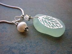 Sea Glass Necklace Sea Foam Green
