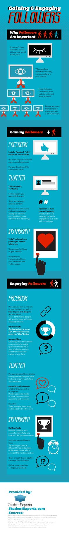 Gaining and Engaging Followers on Social Media – Infographic | http://www.digitalinformationworld.com/
