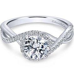 "Gabriel ""Courtney"" Twist Diamond Halo Engagement Ring"