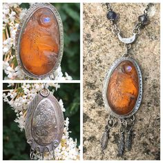 Carved amber Raven with moonstone Moon by Hannah Willow #amber #raven #corvid #moon #moonstone #silver #handmadejewellery #hannahwillow