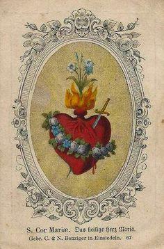 Sacred Heart of Mary, prayer card. Religious Images, Religious Icons, Religious Art, Sacred Heart Tattoos, Jesus E Maria, Vintage Holy Cards, Herz Tattoo, Spiritus, Heart Of Jesus
