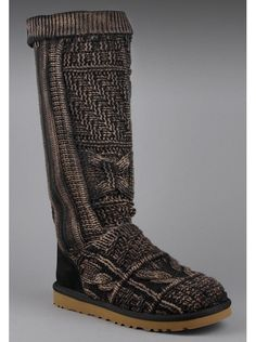UGG Australia Women's Patchwork Boot in Black/Brown.    Uniquely patterned and comfortably warm, these boots are a trendy addition to any woman's wardrobe.  The leg extends almost to the knee and can be rolled up or down.  The UGG Australia brand is stitched on the back of the heel and the sole has traction and is made of thick rubber.